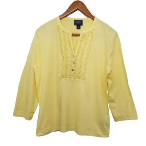 Chaps women's cotton pintuck lace bib yellow top